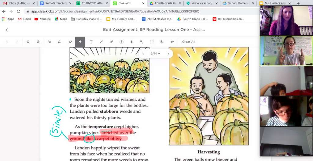Reading Lesson with Classkick